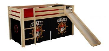 Hochbett mit Rutsche Pino Spielbett Kinderbett Einzelbett Natur / Piraten
