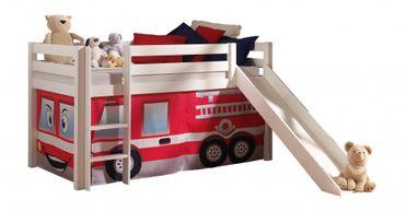 Hochbett mit Rutsche Pino Spielbett Kinderbett Einzelbett Weiß / Feuerwehr