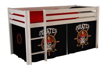 Hochbett Pino Spielbett Kinderbett Einzelbett Weiß /  Piraten