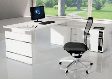 AVETO Winkelkombination Eckschreibtisch Komplettarbeitsplatz Schreibtisch Weiß – Bild 1