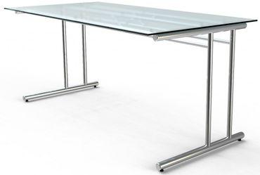 ARTLINE Schreibtisch 160x80cm Bürotisch Arbeitstisch Glas – Bild 1