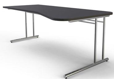 ARTLINE Freiformtisch 195x80/100cm Schreibtisch Bürotisch Arbeitstisch Anthrazit – Bild 1