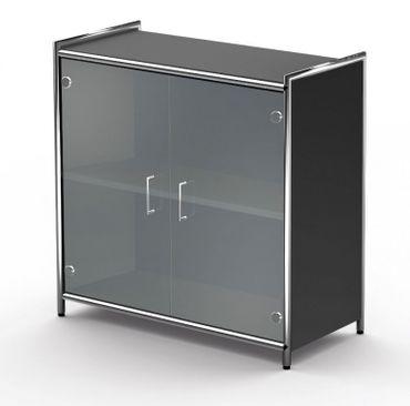 ARTLINE Sideboard Aktenschrank 2OH Büroschrank Anthrazit / Glas – Bild 1