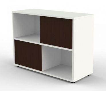 REMO SCHRÄNKE Sideboard Schiebetürenschrank 2OH Aufsatzregal Aktenregal Weiß/Wenge – Bild 1