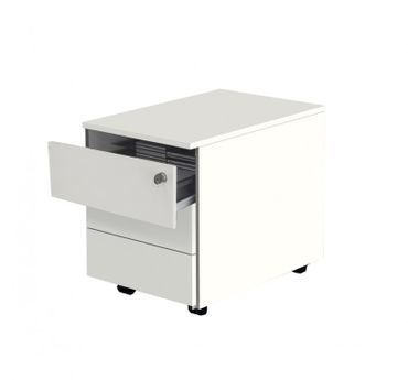 VARI Rollcontainer mit 3 Schubladen, 60 cm tief, Weiß