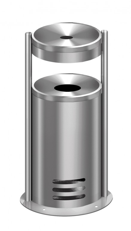 Edelstahl Standaschenbecher 56 cm Aschenbecher Mülleimer Ascher Standascher NEU