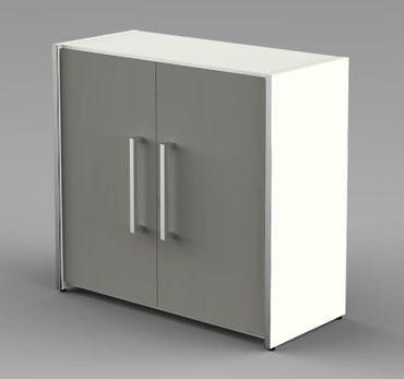 Form 4 Aktenschrank 2 OH Büroschrank Schrank Sideboard Weiß/Grafit