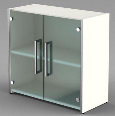 Form 4 Aktenschrank 2 OH Büroschrank Schrank Sideboard Weiß/Glas