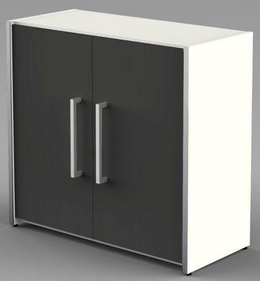 Form 4 Aktenschrank 2 OH Büroschrank Schrank Sideboard Weiß/Anthrazit – Bild 1