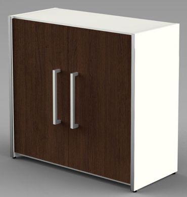 Form 4 Aktenschrank 2 OH Büroschrank Schrank Sideboard Weiß/Wenge – Bild 1