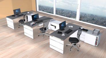 FORM 4 TYP6 Gruppenarbeitsplatz Schreibtisch Büro Office Weiß/Grafit – Bild 1