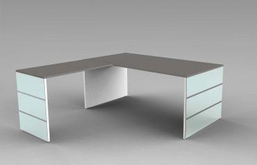 LUGANO Winkelkombination Eckschreibtisch Schreibtisch Bürotisch Weiß/Grafit – Bild 1