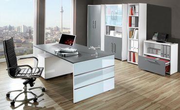 LUGANO TYP1 Komplettbüro Büro Komplettset Office Weiß/Grafit – Bild 1