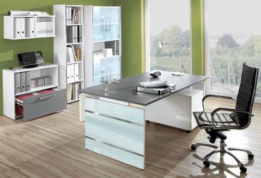 LUGANO TYP5 Komplettbüro Büro Komplettset Office Weiß/Grafit – Bild 1