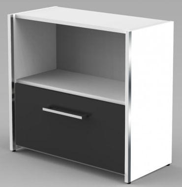 AVETO Aktenschrank 2OH Sideboard Aktenregal Hängeregistratur Regal Büroregal Weiß/Anthrazit – Bild 1