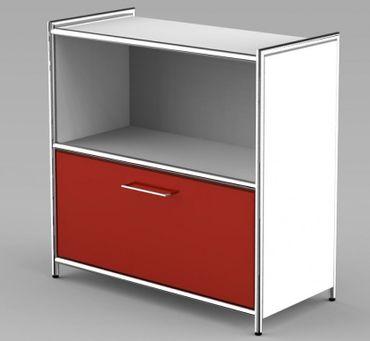 ARTLINE Sideboard 2OH Aktenregal Regal Büroregal Weiß/Rot – Bild 1