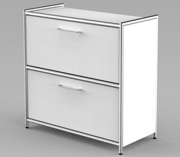 ARTLINE Sideboard 2OH Aktenregal Regal Büroregal Weiß – Bild 1