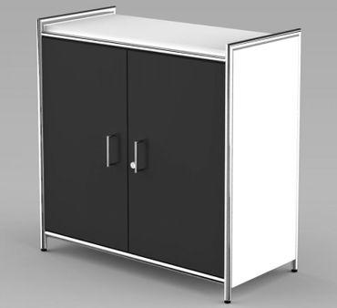 ARTLINE Sideboard 2OH Aktenschrank Schrank Büroschrank Weiß/Anthrazit – Bild 1