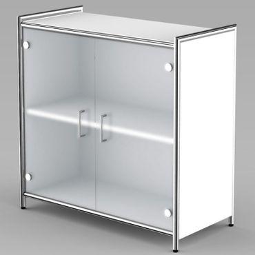 ARTLINE Sideboard 2OH Aktenschrank Schrank Büroschrank Weiß/Glas – Bild 1