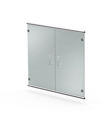 ARTLINE Sideboard 2OH Aktenschrank Schrank Büroschrank Weiß/Glas – Bild 3