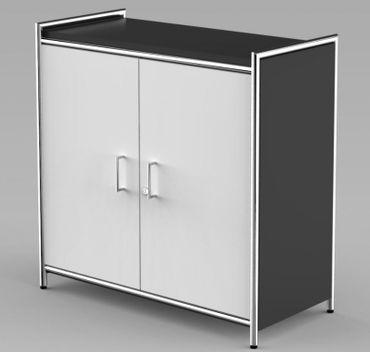 ARTLINE Sideboard 2OH Aktenschrank Schrank Büroschrank Anthrazit/Weiß – Bild 1