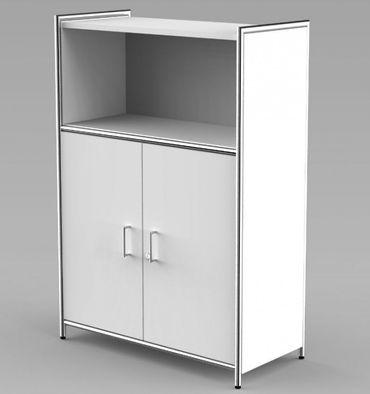 ARTLINE Highboard 3OH Aktenschrank Schrank Büroschrank Büroregal Weiß – Bild 1