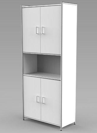 ARTLINE Kombischrank 5OH Aktenschrank Schrank Büroschrank Büroregal Weiß – Bild 1