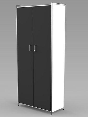 ARTLINE Aktenschrank 5OH Büroschrank Schrank Türenschrank Weiß/Anthrazit – Bild 1