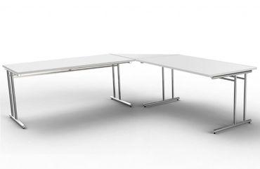 ARTLINE Winkelkombination Eckschreibtisch Schreibtisch Bürotisch Weiß – Bild 1