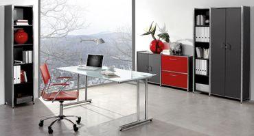 ARTLINE TYP1 Komplettbüro Büro Komplettset Office Anthrazit/Rot – Bild 1
