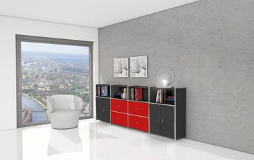 ARTLINE TYP14 Highboard 3 OH Regal Sideboard Büroregal Regalwand Anthrazit/Rot – Bild 2