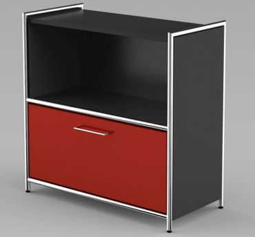 ARTLINE TYP15 Sideboard 2 OH Regal Sideboard Büroregal Regalwand Anthrazit/Rot – Bild 3