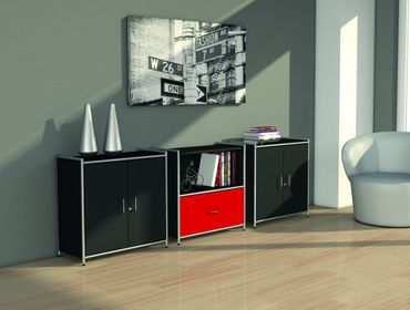 ARTLINE TYP15 Sideboard 2 OH Regal Sideboard Büroregal Regalwand Anthrazit/Rot – Bild 7