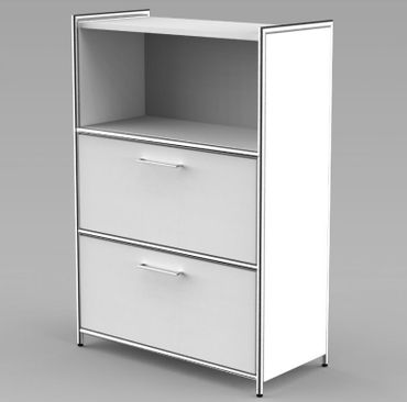 ARTLINE TYP17 Highboard 3 OH Regal Sideboard Büroregal Regalwand Weiß – Bild 3