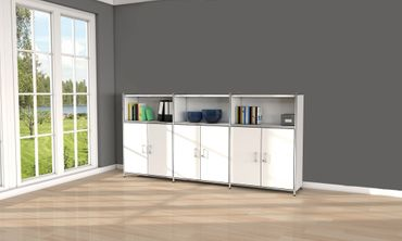 ARTLINE TYP20 Highboard 3 OH Regal Sideboard Büroregal Regalwand Weiß – Bild 5
