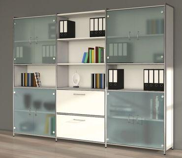 ARTLINE TYP22 Schrankwand 5 OH Schrank Büroschrank Aktenschrank Weiß/Glas – Bild 1