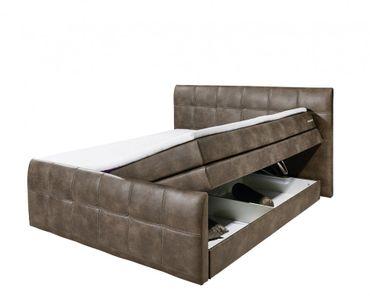 ASPEN B Boxspringbett 180x200cm Bett Komfortbett Doppelbett Ehebett Dunkelbraun – Bild 2