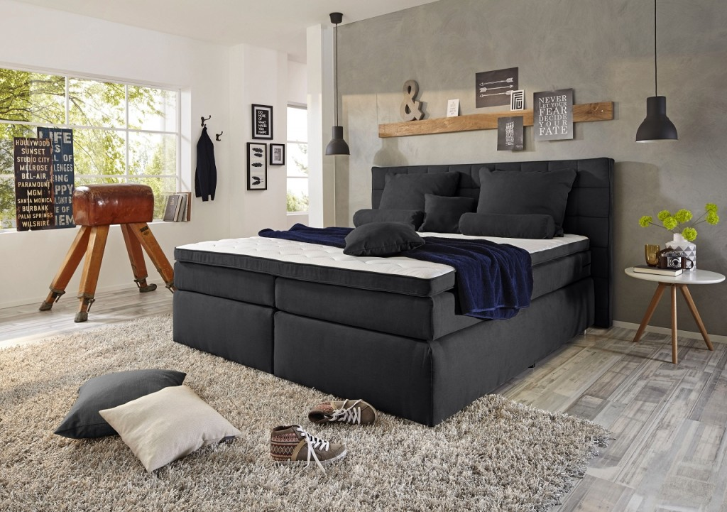 idaho boxspringbett 160x200cm bett komfortbett doppelbett ehebett schwarz ebay. Black Bedroom Furniture Sets. Home Design Ideas