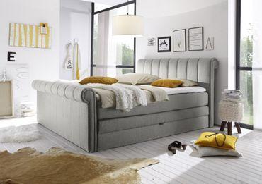 CALIFORNIA C Boxspringbett 180x200cm Bett Komfortbett Doppelbett Ehebett Silber – Bild 2