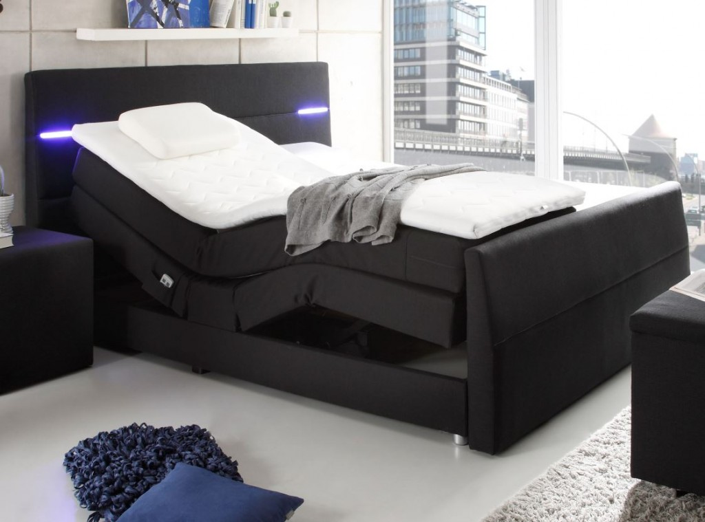 nebraska boxspringbett mit motor 180x200cm elektrisch ehebett doppelbett schwarz schlafen betten. Black Bedroom Furniture Sets. Home Design Ideas
