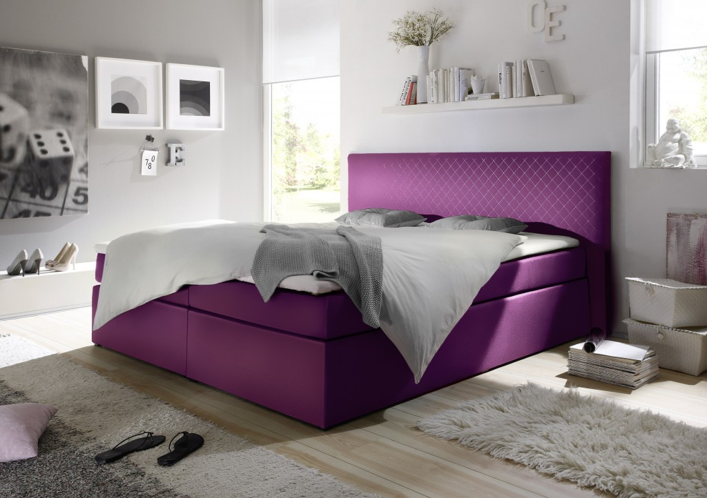 soho boxspringbett 160x200cm bett komfortbett doppelbett ehebett magenta ebay. Black Bedroom Furniture Sets. Home Design Ideas