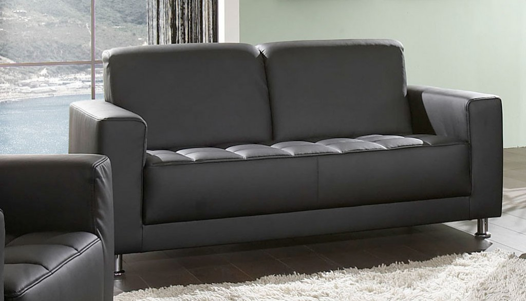 catania 2er sofa couch 2 sitzer kunstleder schwarz ebay. Black Bedroom Furniture Sets. Home Design Ideas