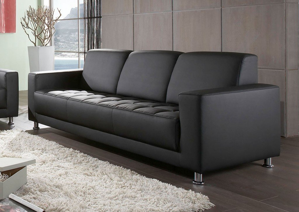catania 3er sofa couch 3 sitzer kunstleder schwarz ebay. Black Bedroom Furniture Sets. Home Design Ideas