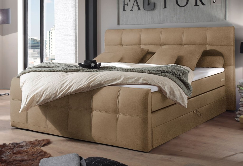 sacramento b boxspringbett 180x200cm bett komfortbett doppelbett ehebett sand ebay. Black Bedroom Furniture Sets. Home Design Ideas
