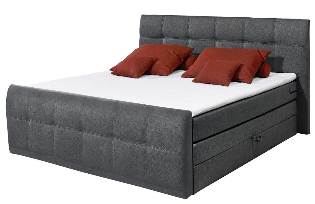 sacramento b boxspringbett 180x200cm bett komfortbett doppelbett ehebett anthraz ebay. Black Bedroom Furniture Sets. Home Design Ideas
