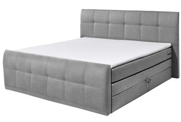 SACRAMENTO B Boxspringbett 180x200cm Bett Komfortbett Doppelbett Ehebett Grau – Bild 1