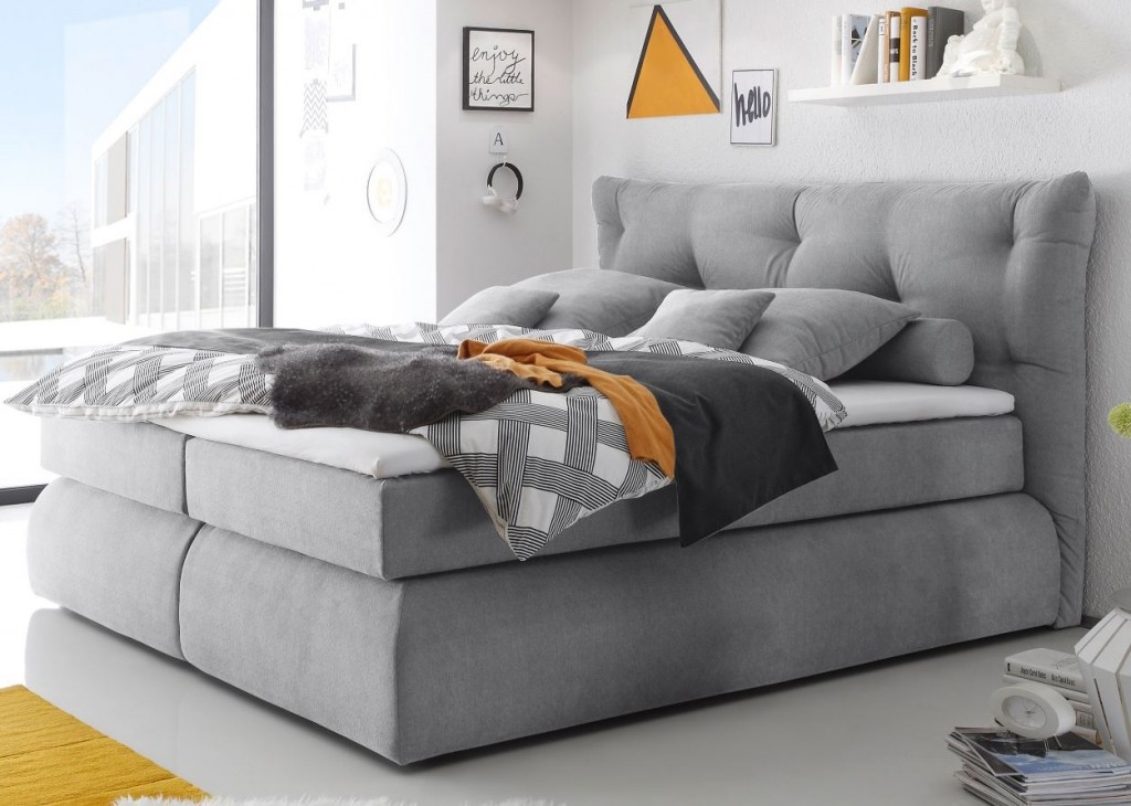 madison boxspringbett 180x200cm bett komfortbett doppelbett ehebett grau schlafen betten. Black Bedroom Furniture Sets. Home Design Ideas