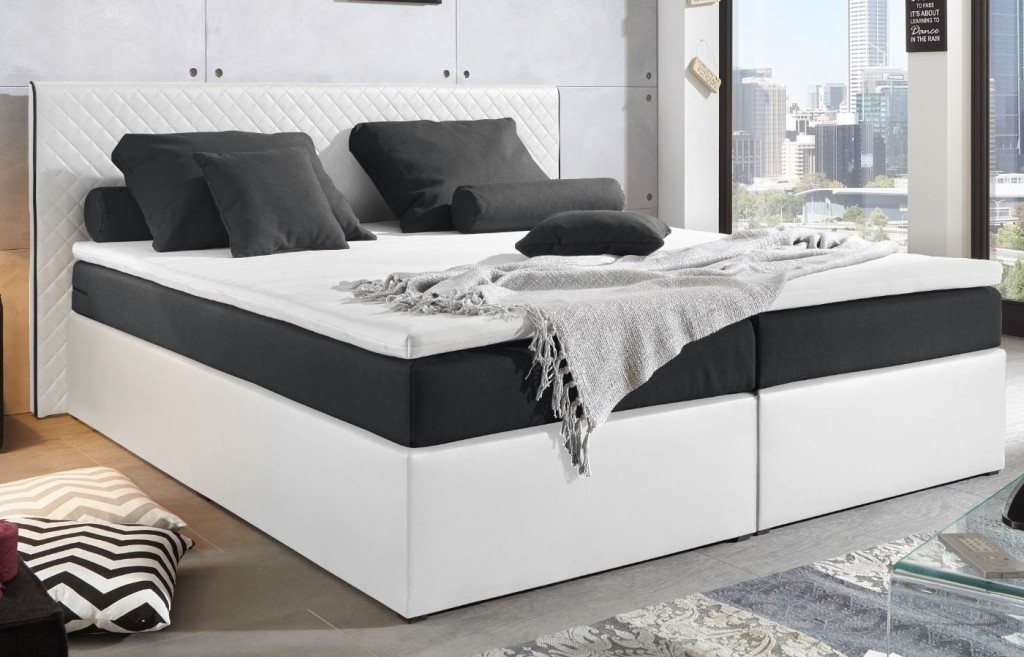 PERTH Boxspringbett 160x200cm Bett Komfortbett Doppelbett Ehebett  Weiß/Schwarz