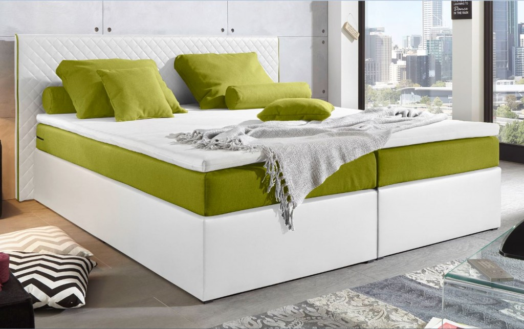 perth boxspringbett 160x200cm bett komfortbett doppelbett ehebett wei gr n ebay. Black Bedroom Furniture Sets. Home Design Ideas