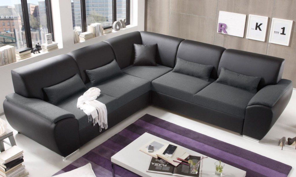 antara ecksofa mit schlaffunktion couch schlafsofa sofa kunstleder schwarz anthrazit. Black Bedroom Furniture Sets. Home Design Ideas